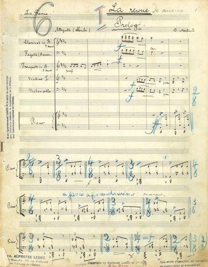 MARTIN? Bohuslav (1890-1959). MANUSCRIT MUSICAL...