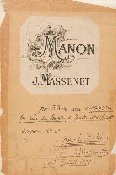 MASSENET Jules (1842-1912). Manon, opera-comica...