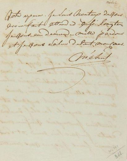 MÉHUL Étienne-Nicolas (1763-1817). L.A.S....