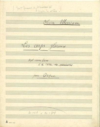 MESSIAEN Olivier (1908-1992). MANUSCRIT MUSICAL...