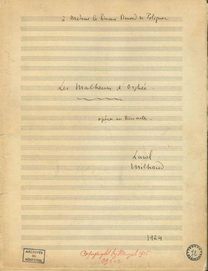 MILHAUD Darius (1892-1974). MANUSCRIT MUSICAL...