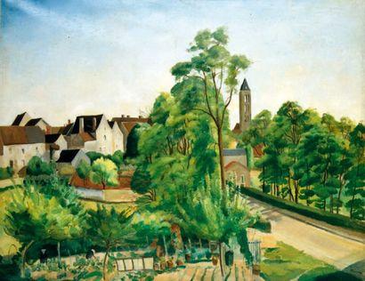 CERIA Edmond (1884-1955) Château-Landon au printemps Huile sur toile. Signée en bas...