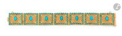 Bracelet en or 18K (750) articulé de maillons...