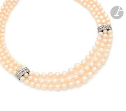 Collier de 3 rangs de perles de culture en...