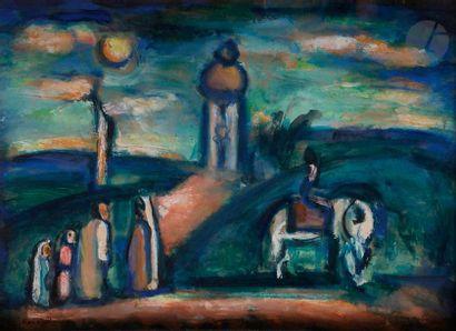Georges ROUAULT (1871-1958) Paysage animé, 1925 Gouache et huile sur papier contrecollé...