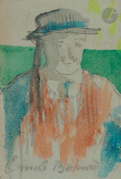 Émile BERNARD (1868-1941) Portrait de breton au chapeau Aquarelle, pastel et mine...