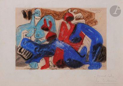 Charles-Édouard JEANNERET dit LE CORBUSIER (1887-1965) Deux femmes nues assises,...