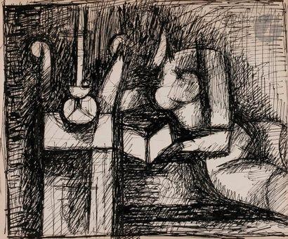 Marcel GROMAIRE (1892-1971) Nu à la lecture...