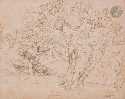 André LHOTE (1885-1962) Paysage, vers 1940...