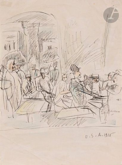 J. Pincas dit PASCIN (1885-1930) Hommes attablés,...