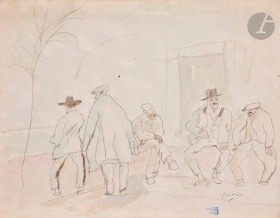 J. Pincas dit PASCIN (1885-1930) Les Joueurs...