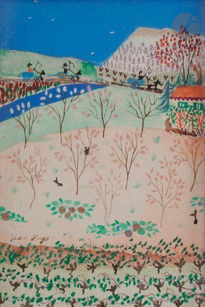 Jean HUGO (1894-1984) Paysage aux charriots...