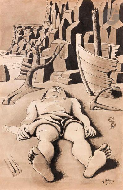 Georges ROHNER (1913-2000) Homme étendu,...