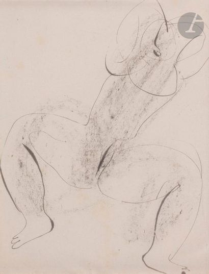 Jean FAUTRIER (1898-1964) Nu les bras levés,...