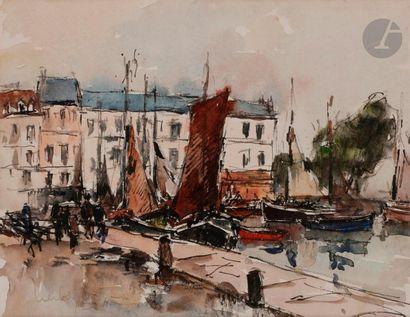 Fernand HERBO (1905-1995) Honfleur, le port,...