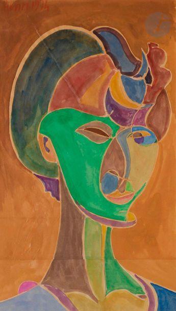 Henri LANDIER (né en 1935) Portrait de femme,...