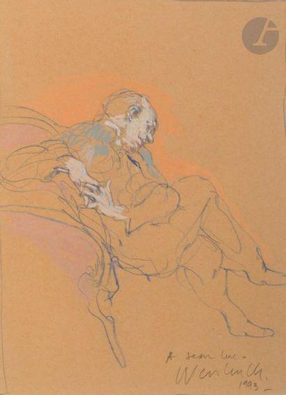 Claude WEISBUCH (1927-2014) Homme pensif,...