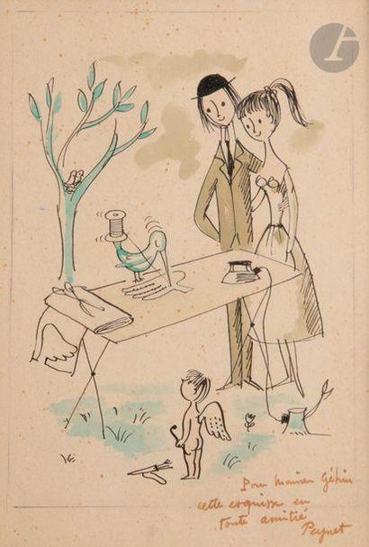 Raymond PEYNET (1908-1999) L'Oiseau couturier...