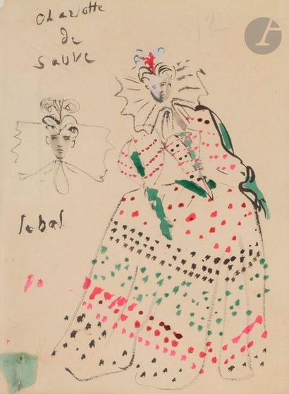 Christian BÉRARD (1902-1949) Projet de costume...