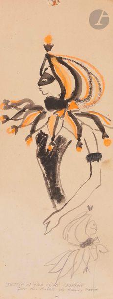 Yves SAINT-LAURENT (1936-2008) Étude de costume...