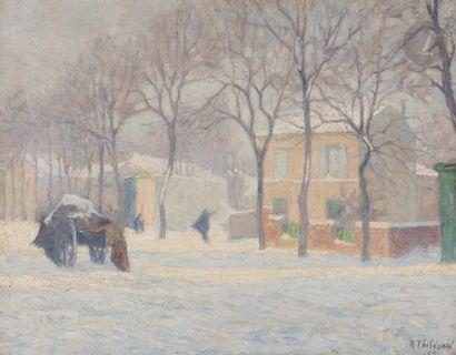 Raymond THIBÉSART (1874-1968) Rue enneigée,...