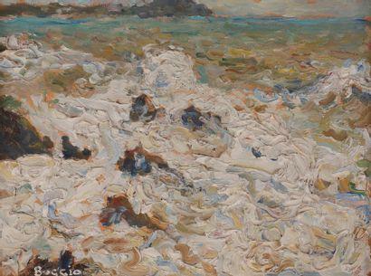 Emilio BOGGIO (1857-1920) Mer écumeuse à...