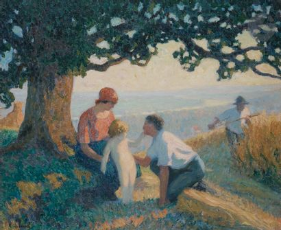 Raymond THIBÉSART (1874-1968) Les Moissonneurs,...