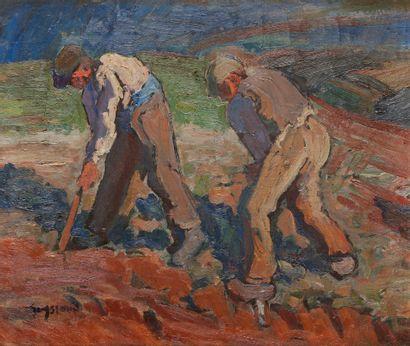 René SEYSSAUD (1867-1952) Paysans au travail...