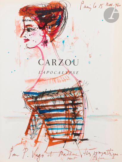Jean CARZOU (1907-2 000) Profil féminin Encre...