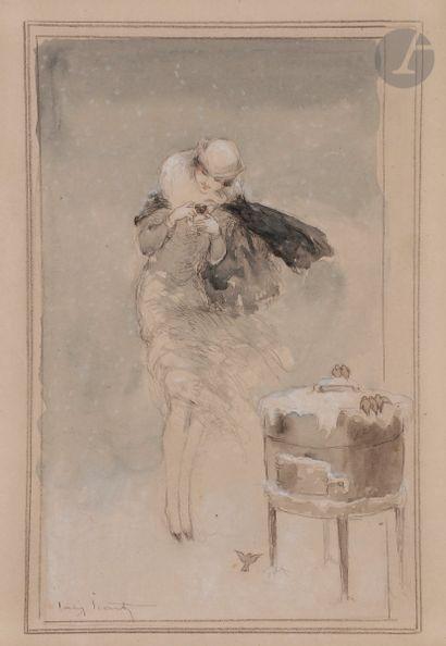 Louis ICART (1888-1950) Élégante aux moineaux...