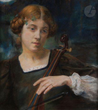 Edgard MAXENCE (1871-1954) Violoniste Pastel....