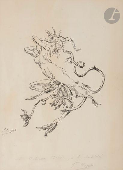 Félicien ROPS (1833-1898) Transformisme Encre....