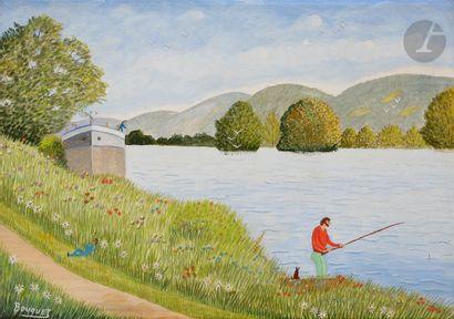 André BOUQUET (1897-1987) Le Mesnil, pêcheur...