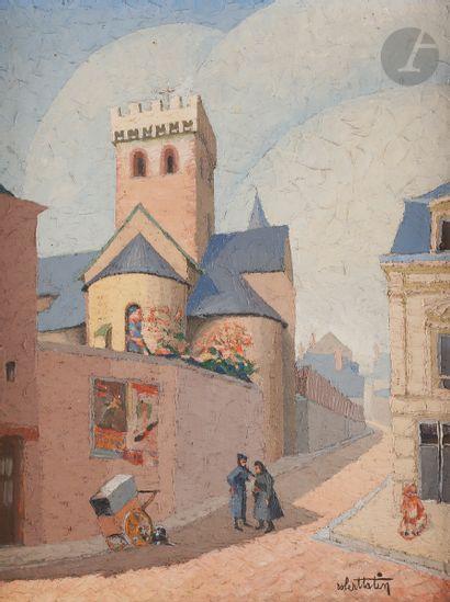 Robert TATIN (1902-1983) Rue de village animée...