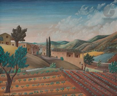 Serge FIORIO (1911-2011) Paysage aux oliviers...