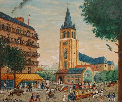 Hector TROTIN (1894-1966) Paris, Café des...