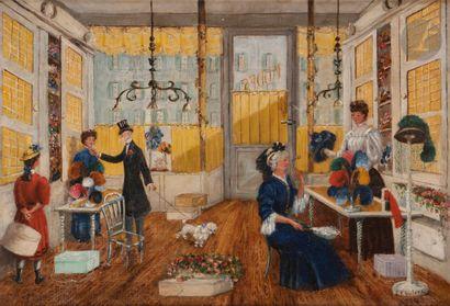 E.F. DUFOUR (XIXe-XXe siècle) Chez la chapelière,...