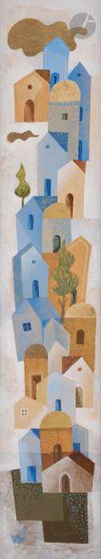 Sami BRISS (né en 1930) Village perché Huile...