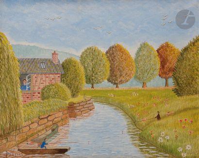 André BOUQUET (1897-1987) Pêche sur la rivière...