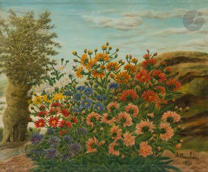 André BAUCHANT (1873-1958) Parterre de fleurs,...