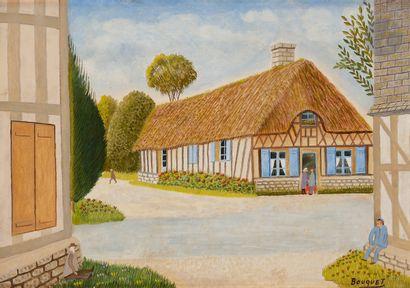 André BOUQUET (1897-1987) Chaumière normande...
