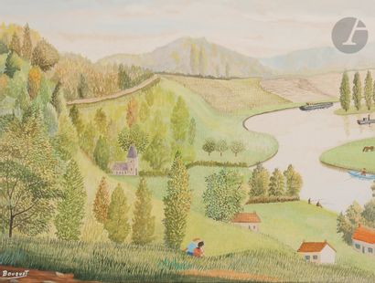 André BOUQUET (1897-1987 )River and valleysGouache . Signed lower left. 32 x 39...