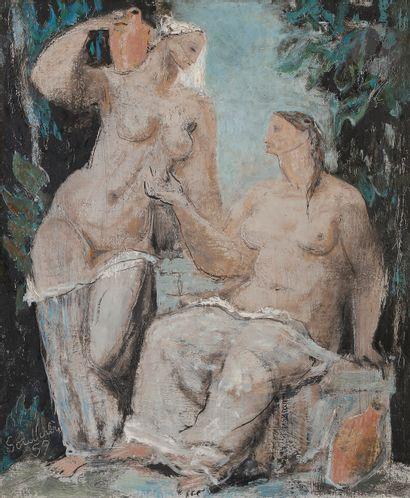 Jean SOUVERBIE (1891-1981) Femmes à la fontaine,...