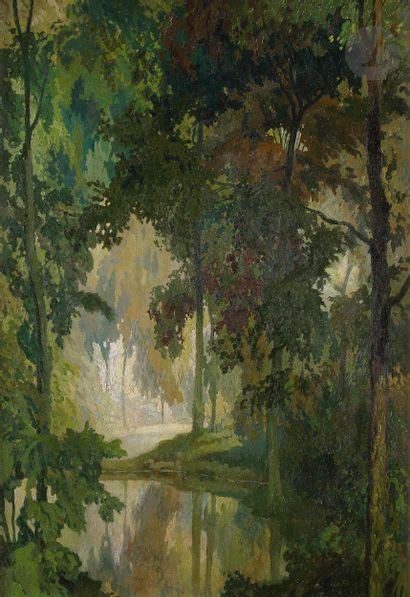 Georges DE FEURE (1868-1943) La Rivière Huile...