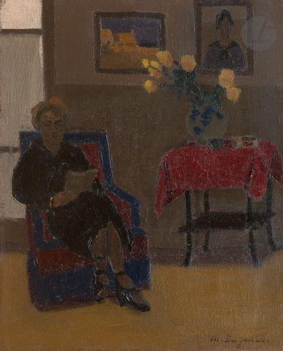 Marius BORGEAUD (1861-1924) Femme lisant,...