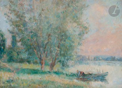 Albert LEBOURG (1849-1928) Barque au bord...