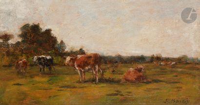 Eugène BOUDIN (1824-1898) Vaches au pré,...