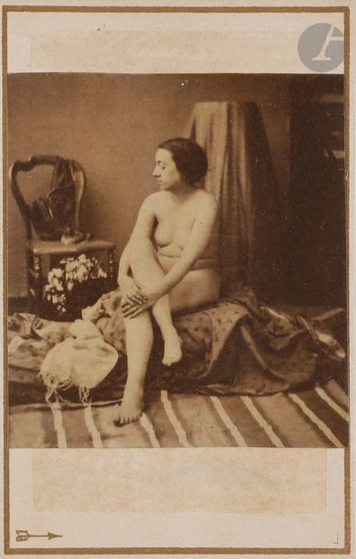 Louis Camille d'Olivier (1827-1870) Nus féminins aux drapés, c. 1860. Deux épreuves...