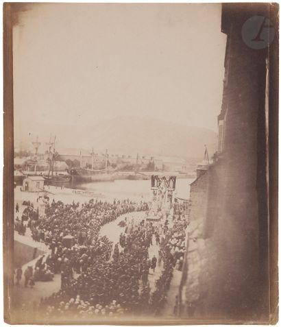 Charles Paul Furne (1824-1875) Cherbourg, août 1858. Voyage officiel de Napoléon...