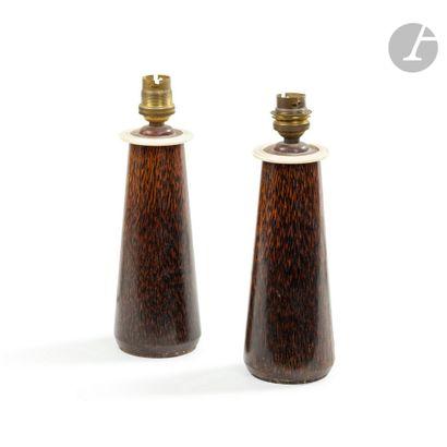 CLÉMENT ROUSSEAU (1872-1950) Paire de pieds de lampe tronconiques d'époque Art déco...